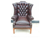 Leather burgundy chesterfield chair (delivery)