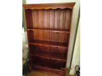 Book case large cabinet in dark solid wood approx 3 foot wide 5 foot tall collect-only