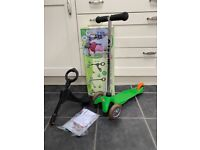 Mini Micro 3 in 1 Scooter Green with O bar and seat