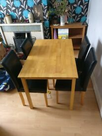 HOME Elmwood Oak Veneer Table & 4 Chairs - Black