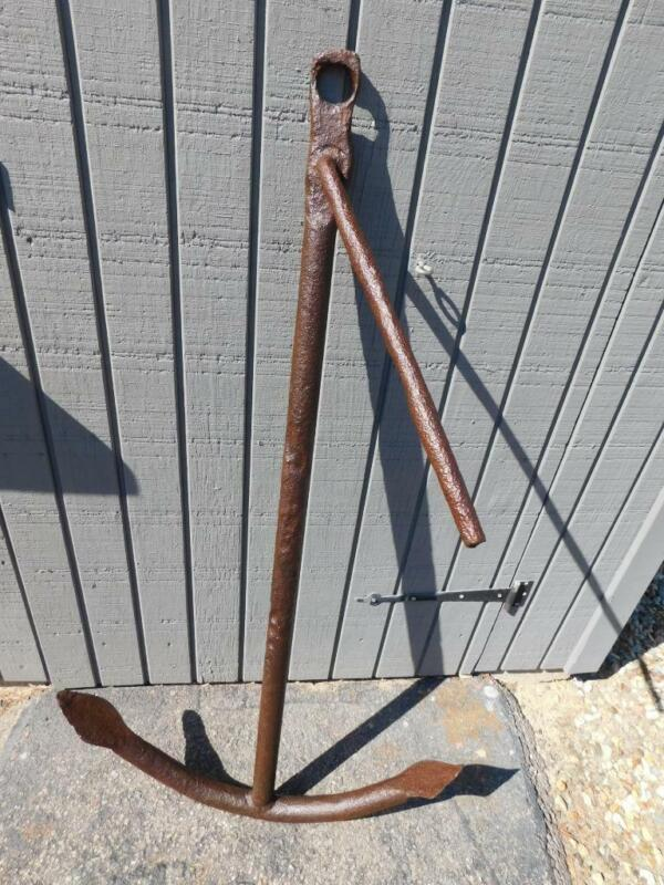 "LARGE ANTIQUE VINTAGE NAUTICAL SHIPS BOAT ANCHOR 49"" T, 46 LBS YARD GARDEN DECOR"