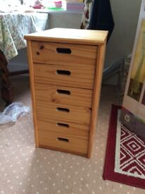 Small pine 6 drawer unit suitable for office or home use.