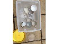 Espresso shot glasses, cups and box of random bits