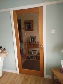 Solid Oak and Smoked Glass door, Rennie Mackintosh Design, complete with handle and hinges