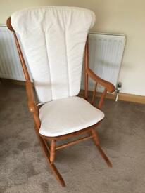 Pine Rocking Chair with cream cushions