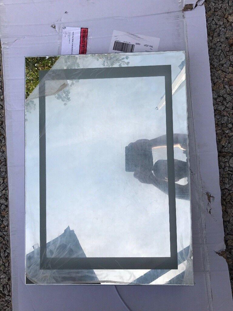 Backlit bathroom mirror with shaver socket & on/off sensor