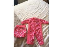Splash about happy nappy size medium and UV all in one in 3 - 6 months, matching design pink blossom