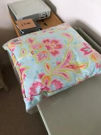 Brand new blue and pink floral cushion