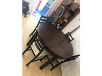 IKEA BJURSTA EXTENDABLE DINING TABLE AND 4 CHAIRS WITH WHITE PADDING