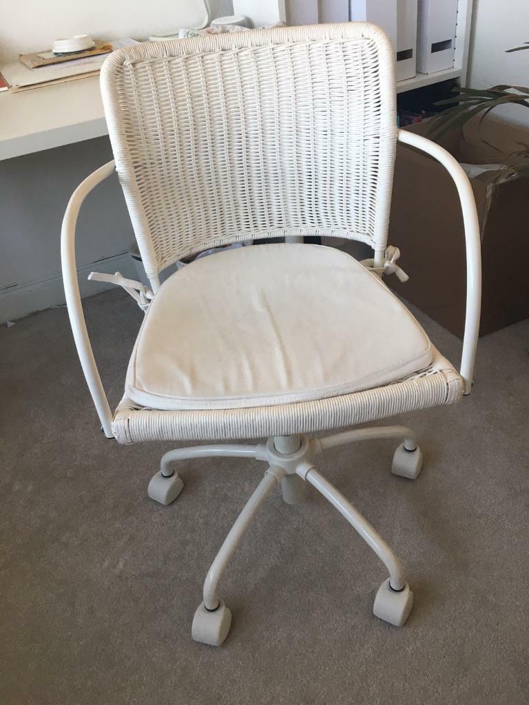 Strange Ikea Gregor White Rattan Swivel Office Chair With Cushion In Caversham Berkshire Gumtree Ncnpc Chair Design For Home Ncnpcorg