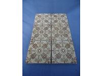 Eight Original Minton 'Fireplace' Tiles – brown and white design