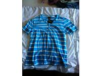 Voi aqua & white striped button down t shirt