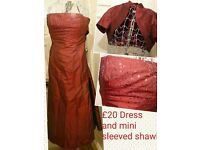 £20 REDUCED!! Long maroon dress, layered w/ net underskirt,.mini sleeved shawl + sequin bust...