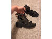 Strapped block sandal