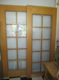 "PAIR OF OAK FULLY GLAZED INTERNAL FRENCH DOORS XL SIZE 33"" x 77.25"""