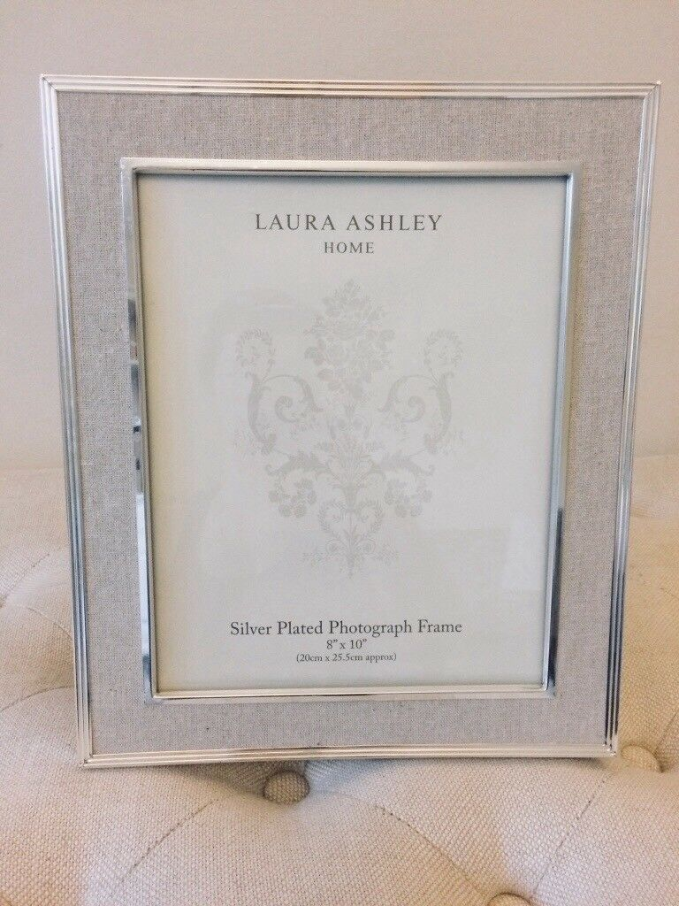 Laura Ashley Photo Frame In Linen Fits 8x10 Pictures Silver Edges