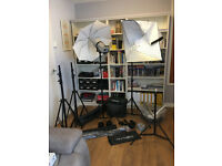 Complete Studio Kit With 2 Elinchrom Style 400FX Flash Heads & Backdrop Support