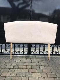 Double Bed Head Board, Beige Faux Suede
