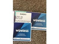 5 x WIRELESS TICKETS FESTIVAL 2018 - Sunday 8th July 2018 £140!!!