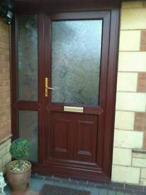 Upvc door with side panel, and all new obscure toughened glass panels mahogany colour.
