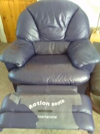 Navy leather recliner armchair excellent condition