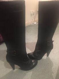 Bronx leather knee boots size 6