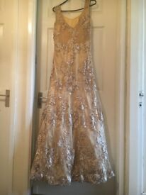 Asian dress in gold lace with pearls very elegant looking for size 10/12