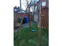 Plum single wooden swing set