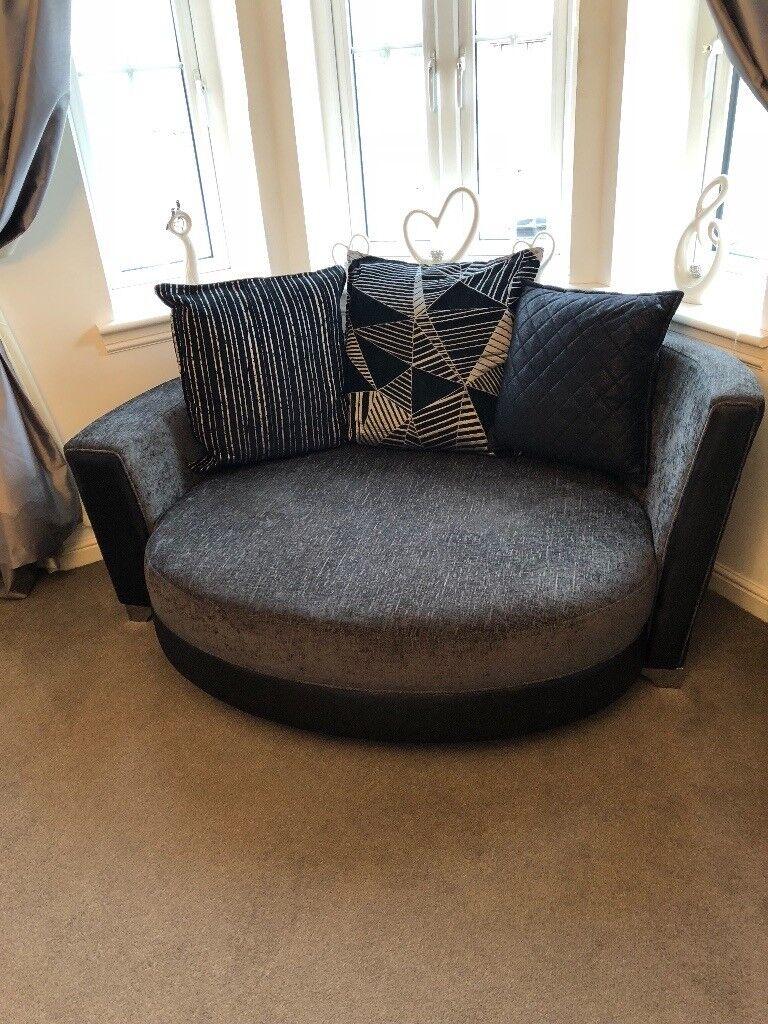 Corner sofa, love chair and puffy