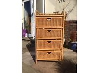 2 x wicker 4 drawer units. VGC. Suitable for nursery or conservatory.
