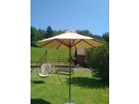 2.5m Round Parasol by Bambrella with Harvest Wheat cover