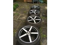 "Four 20"" Team Dynamics alloy wheels with tyres from VW Volkswagen T5 great condition"