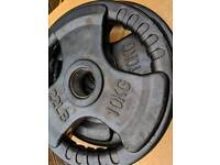 10kg tri grip olympic weight plates- pair- rubberised exterior