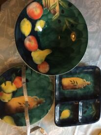 3 large serving platters dishes M&S