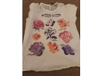 Girls white tshirt with floral print