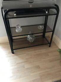 Heavy 3 glass shelf black tv/games/hallway table/unit