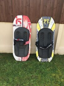 Two new knee boards excellent condition assortment of ski ing ropes wake boards all must go