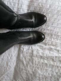 Black Leather Boots, size 3 on sole but actual 'fit' is a wide 4.