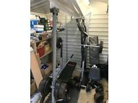 YORK WEIGHT BENCH INCLINE WITH LAT PULL DOWN ACCESSORIES. CAST IRON WEIGHTS AVAILABLE