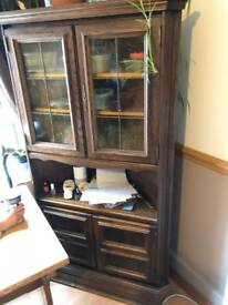 Antique tall glass corner display cabinet