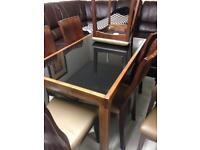 Dark glass top table £250