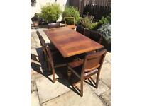 Extending table, 6 chairs and matching sideboard