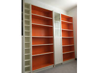 Bookshelves/ bookcase IKEA BILLY x2 rare ltd edition in orange with CD rack and glass door cabinet