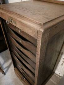 Antique oak locking filing roller shutter cabinet