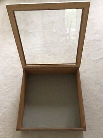 Display Cabinet, Table Top, Pine with Toughned Glass Lid, Excellent Condition