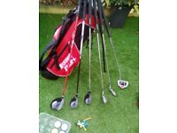 FULL SET (6) JUNIOR MITSUSHIBA RISING STAR GOLF CLUBS + RISING STAR GOLF BAG + GOLF BALLS & TEES