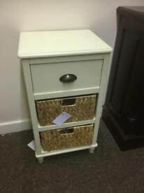 Cream & wicker 3 drawer Cabinet * free furniture delivery *