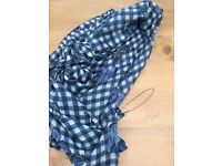 Brand new Next blue and white gingham scarf with butterfly detail.