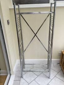Tubular silver coloured display stand/ bookcase etc.