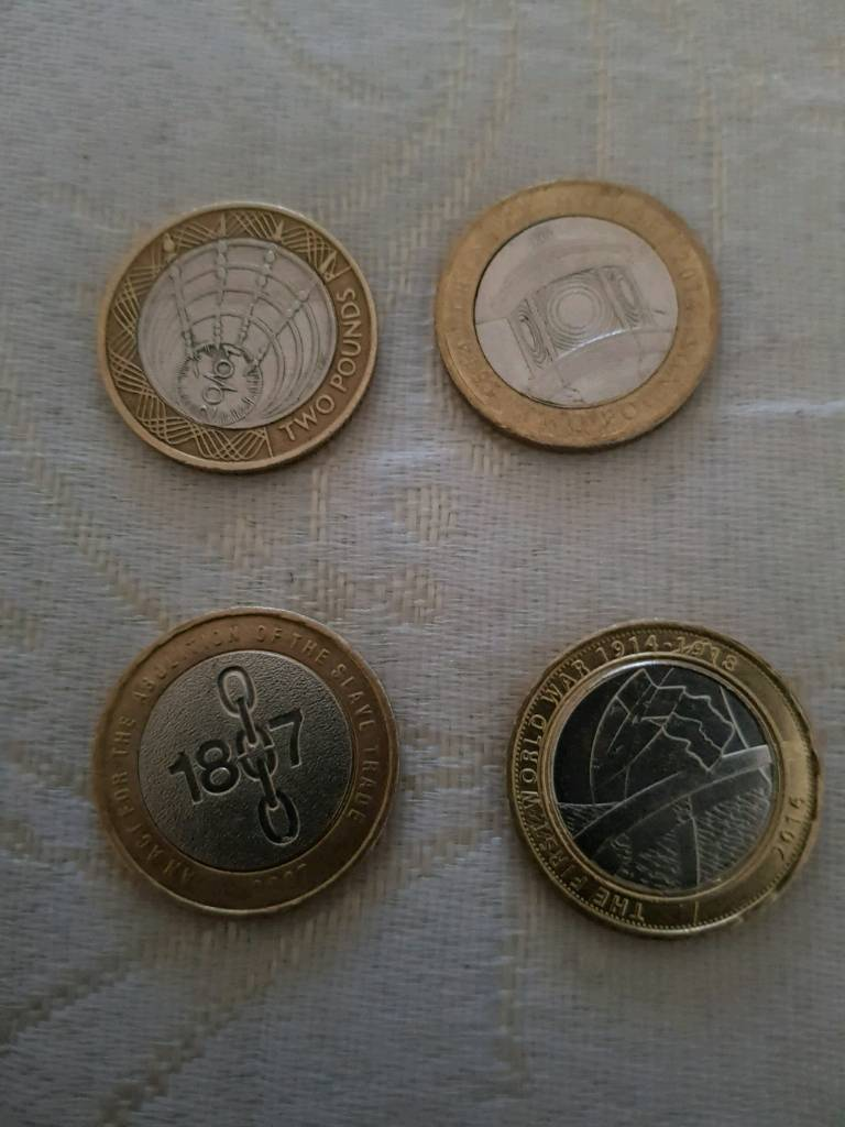 Rare coins of two pounds and 50 pence